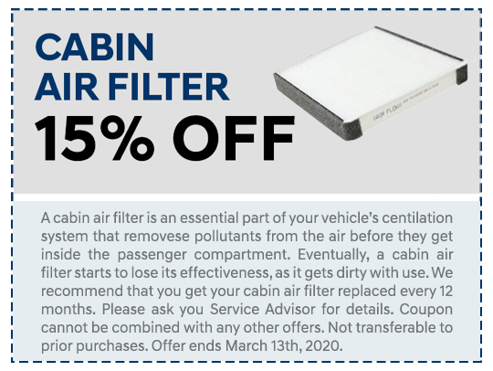 Cabin Air Filter Offer